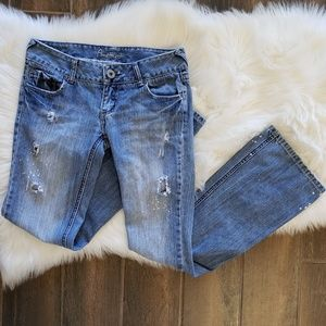 B2G1 Amethyst Boho Distressed/Bleached Flare Jeans
